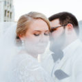 Bride and Groom downtown Chicago veil shot