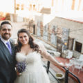Bride and Groom with lavender bouquet at Salvage One Chicago